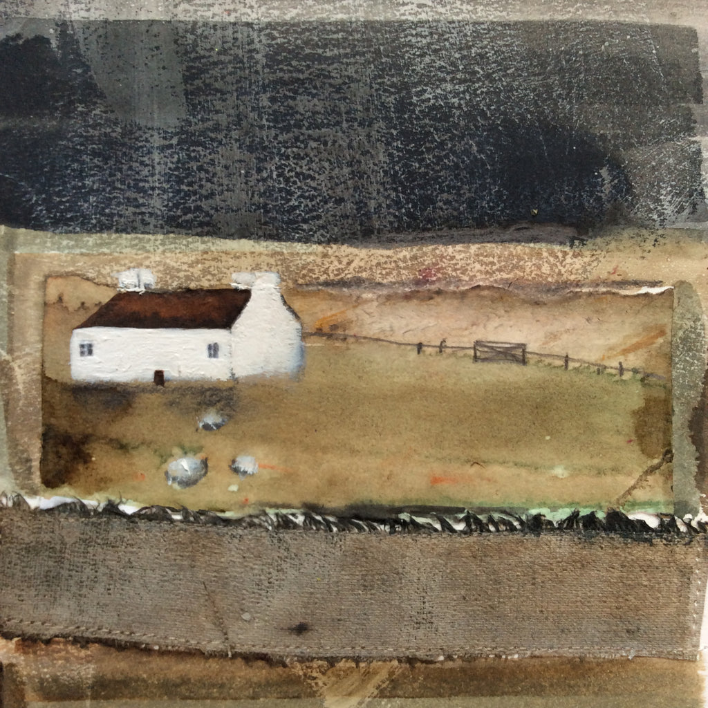 "Mixed Media Art By Louise O'Hara - ""A rainy day on the farm"""