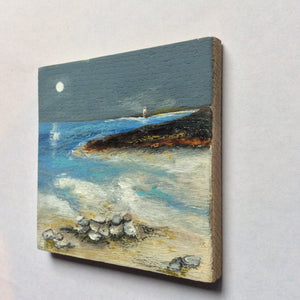 "Mixed Media Art on wood By Louise O'Hara - ""A lighthouse in the distance"""
