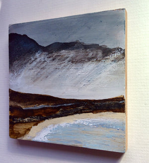 "Mixed Media Art on wood By Louise O'Hara - ""Storm on the headland"""