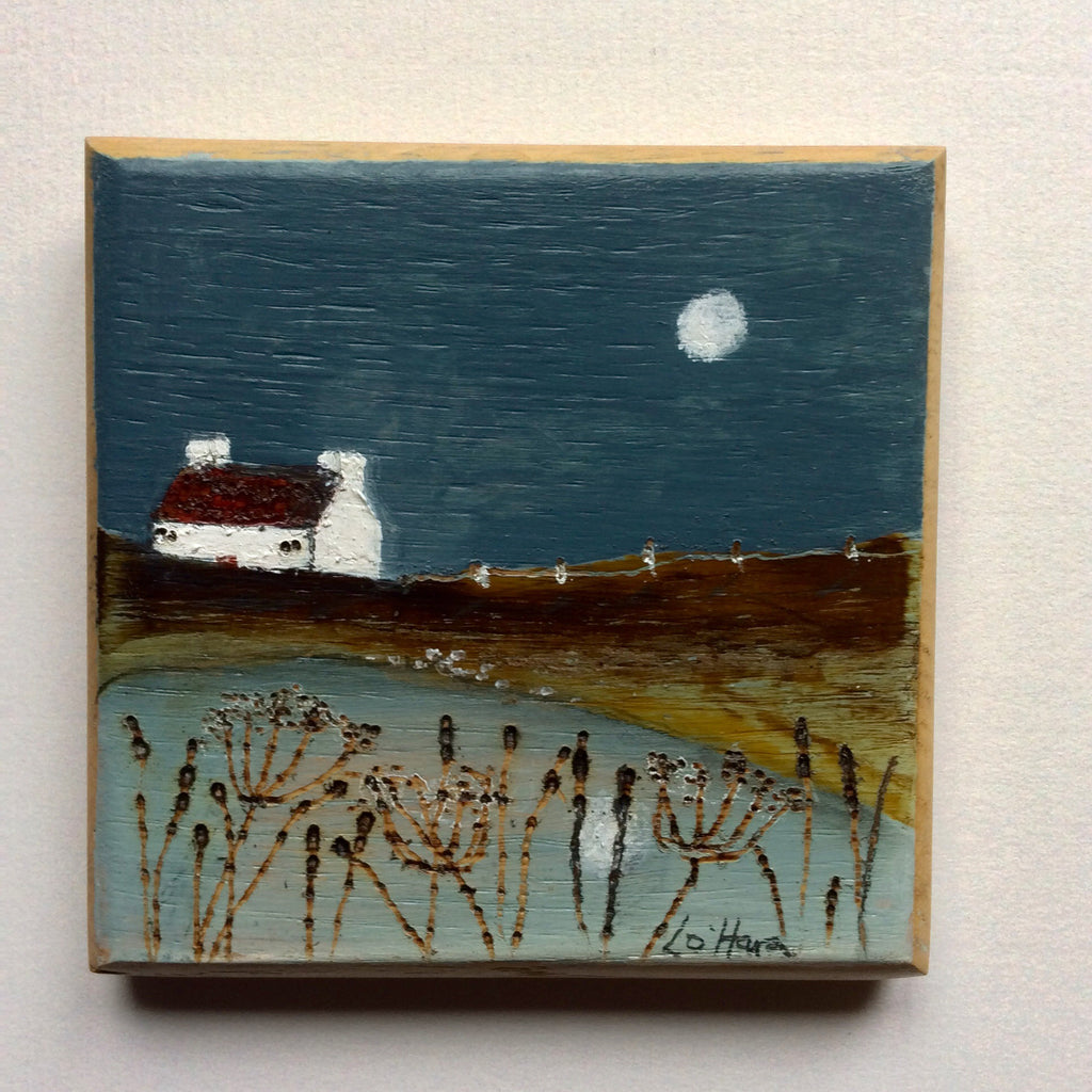 "Mini Mixed Media Art on wood By Louise O'Hara - ""Autumn pond"""