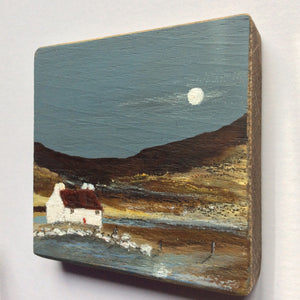 "Mini Mixed Media Art on wood By Louise O'Hara - ""The old Boat House"""