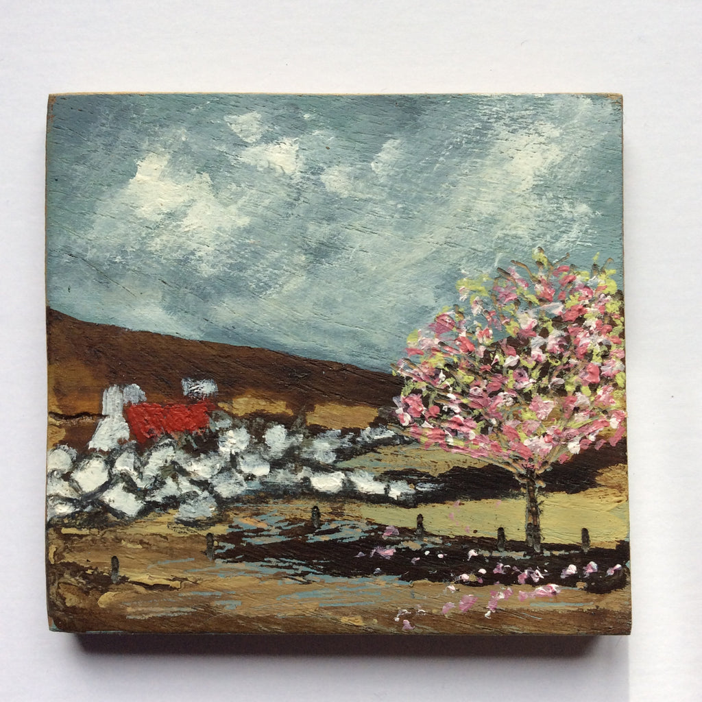 "Mini Mixed Media Art on wood By Louise O'Hara - ""The old white washed wall"""
