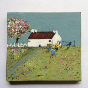"Mixed Media Art on wood By Louise O'Hara - ""An early Spring wash day"""
