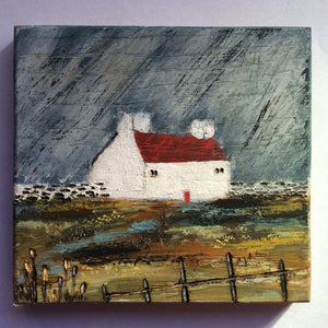 "Mini Mixed Media Art on wood By Louise O'Hara - ""April showers"""