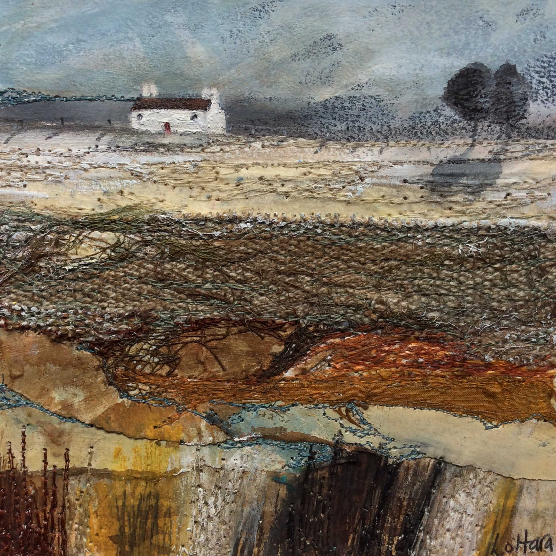 "Mixed Media Art By Louise O'Hara - ""Autumnal colours and winters blues"""