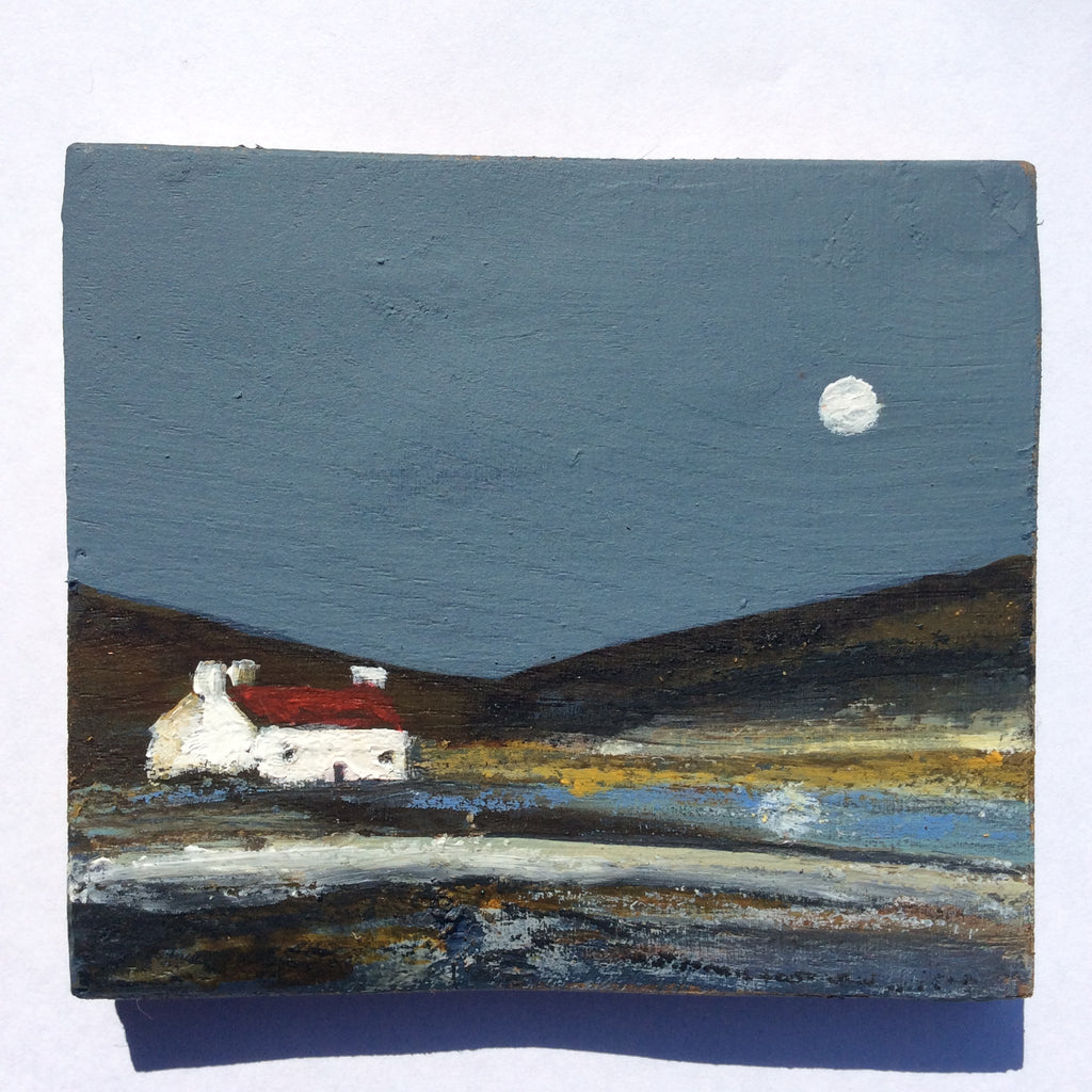 "Mini Mixed Media Art on wood By Louise O'Hara - ""Tarn side Reflections"""