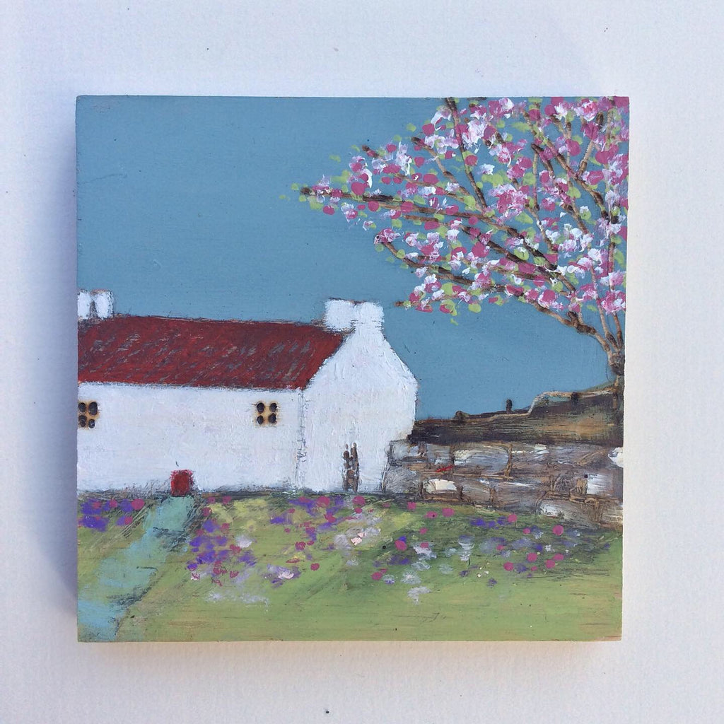 "Mixed Media Art on wood By Louise O'Hara - ""Springtime Cottage"""