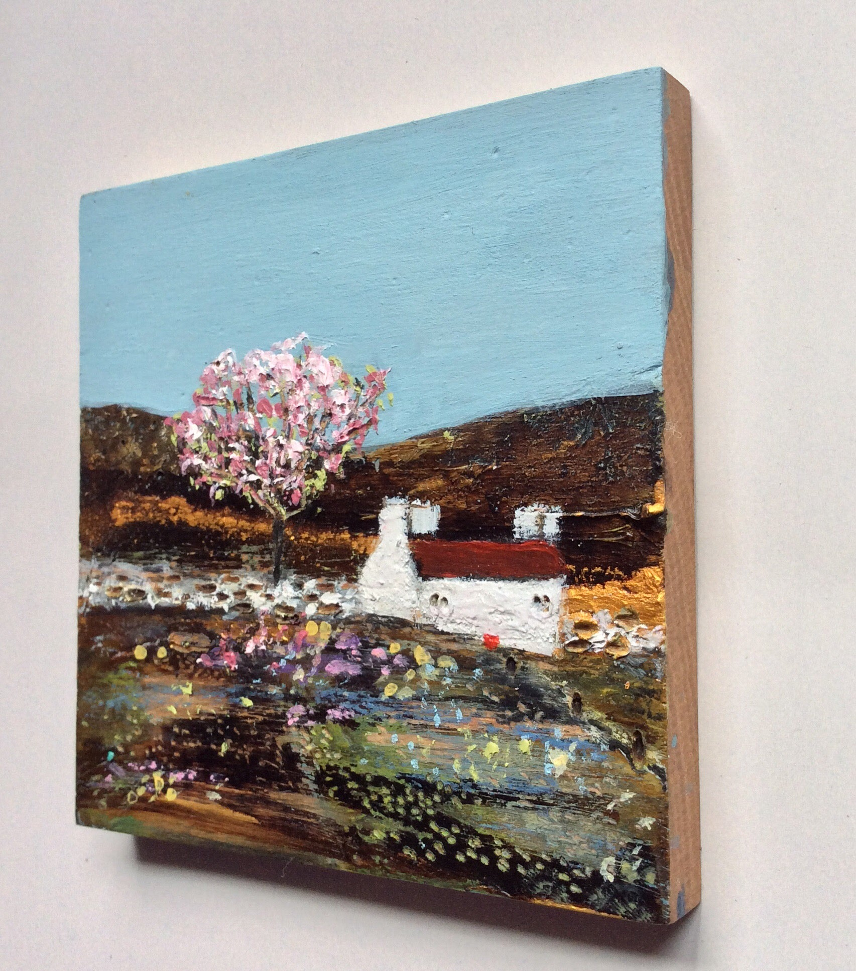 "Mixed Media Art on wood By Louise O'Hara - ""Cherry Blossom"""