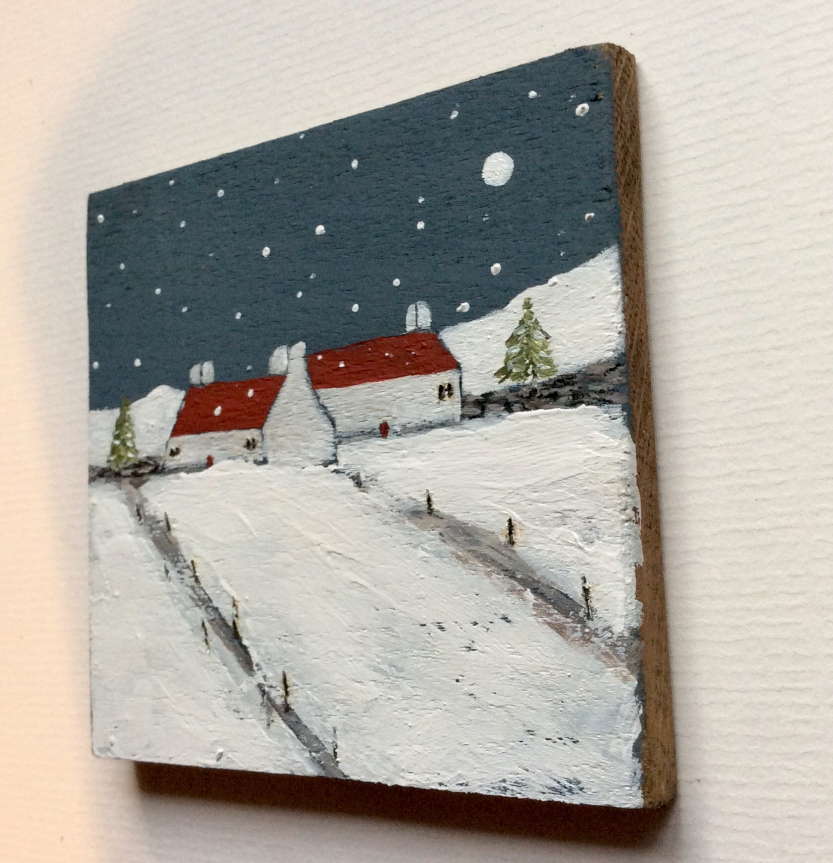 "Mixed Media Art on wood By Louise O'Hara - ""Winter on the Croft"""