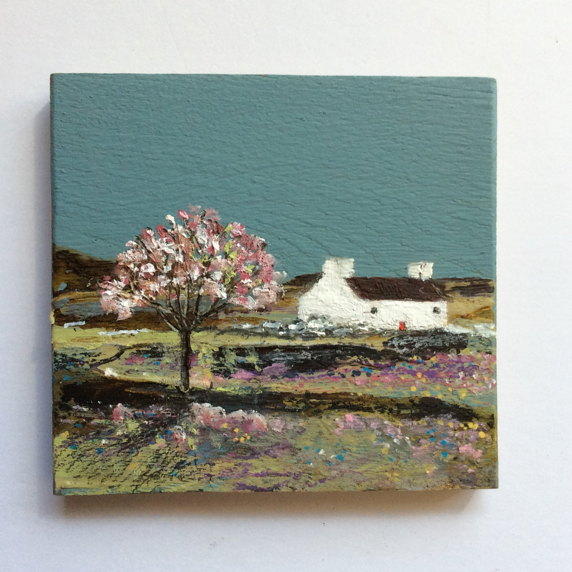 "Mini Mixed Media Art on wood By Louise O'Hara - ""Seaview"""