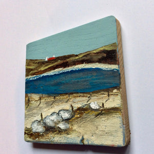 "Mixed Media Art on wood By Louise O'Hara - ""The rugged shoreline of the West Coast"""