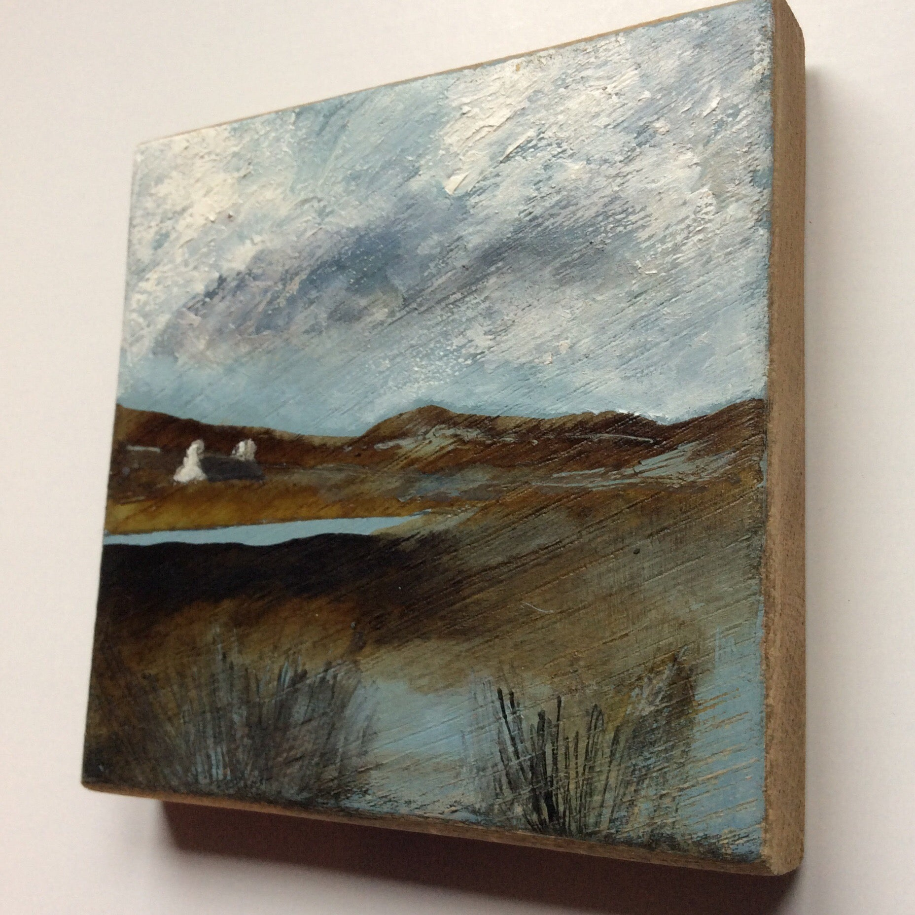 "Mini Mixed Media Art on wood By Louise O'Hara - ""Storm over the Tarn"""