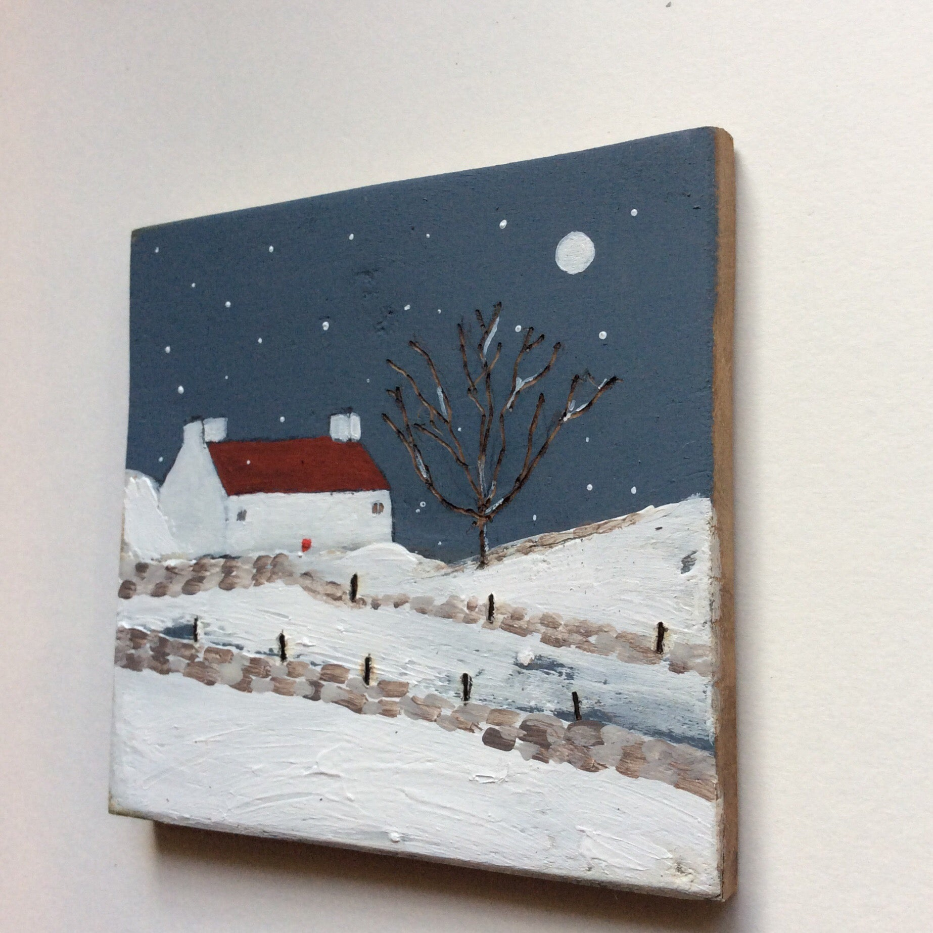 "Mixed Media Art on wood By Louise O'Hara - ""The first snowfall"""