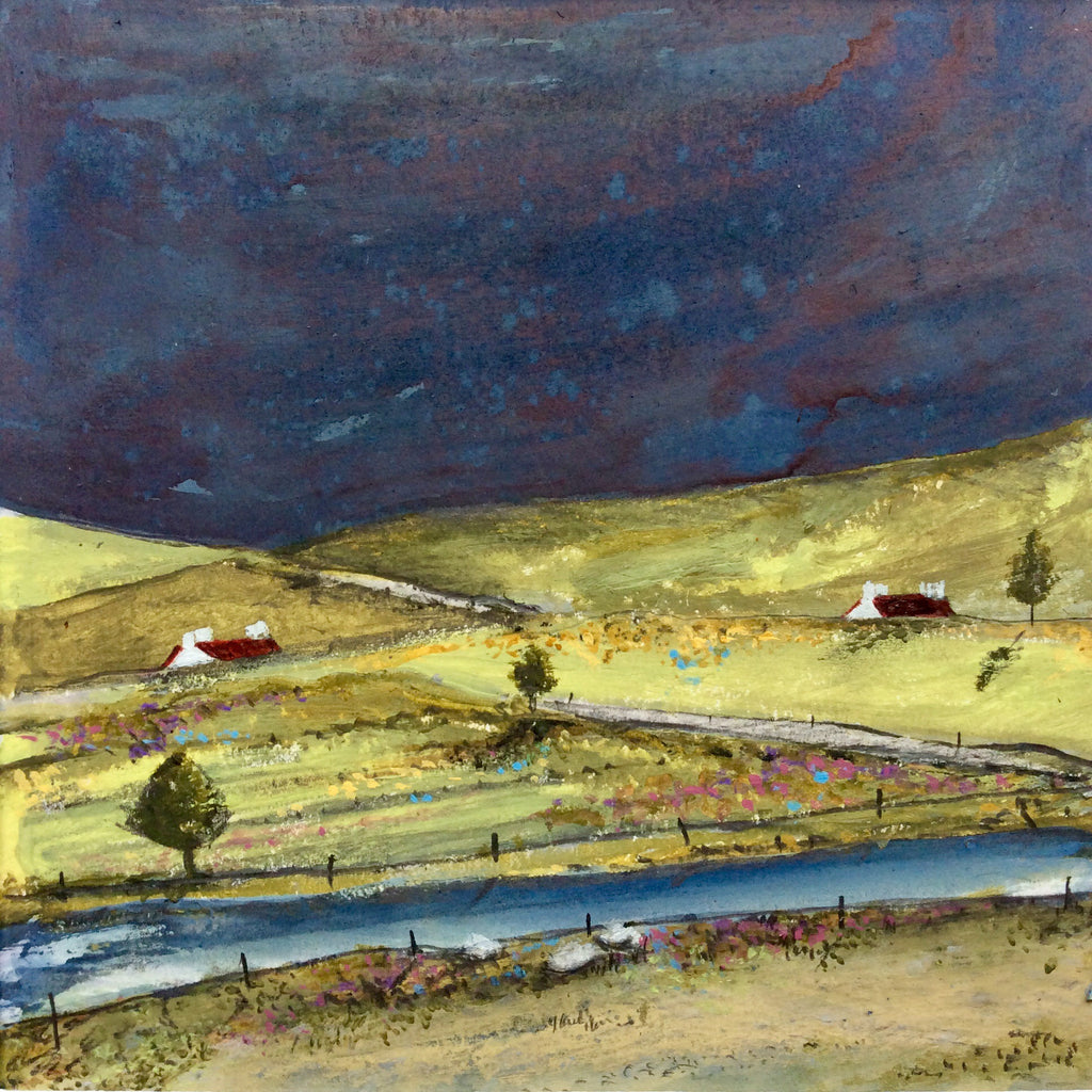 "Mixed Media Art By Louise O'Hara - ""Dark skies, lush green fields"""