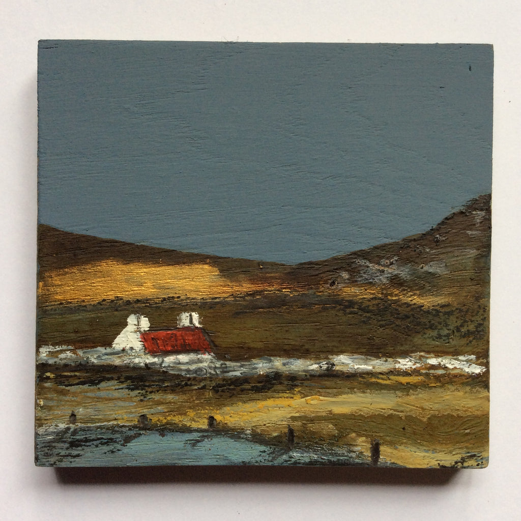 "Mixed Media Art on wood By Louise O'Hara - ""A shoreline Croft"""