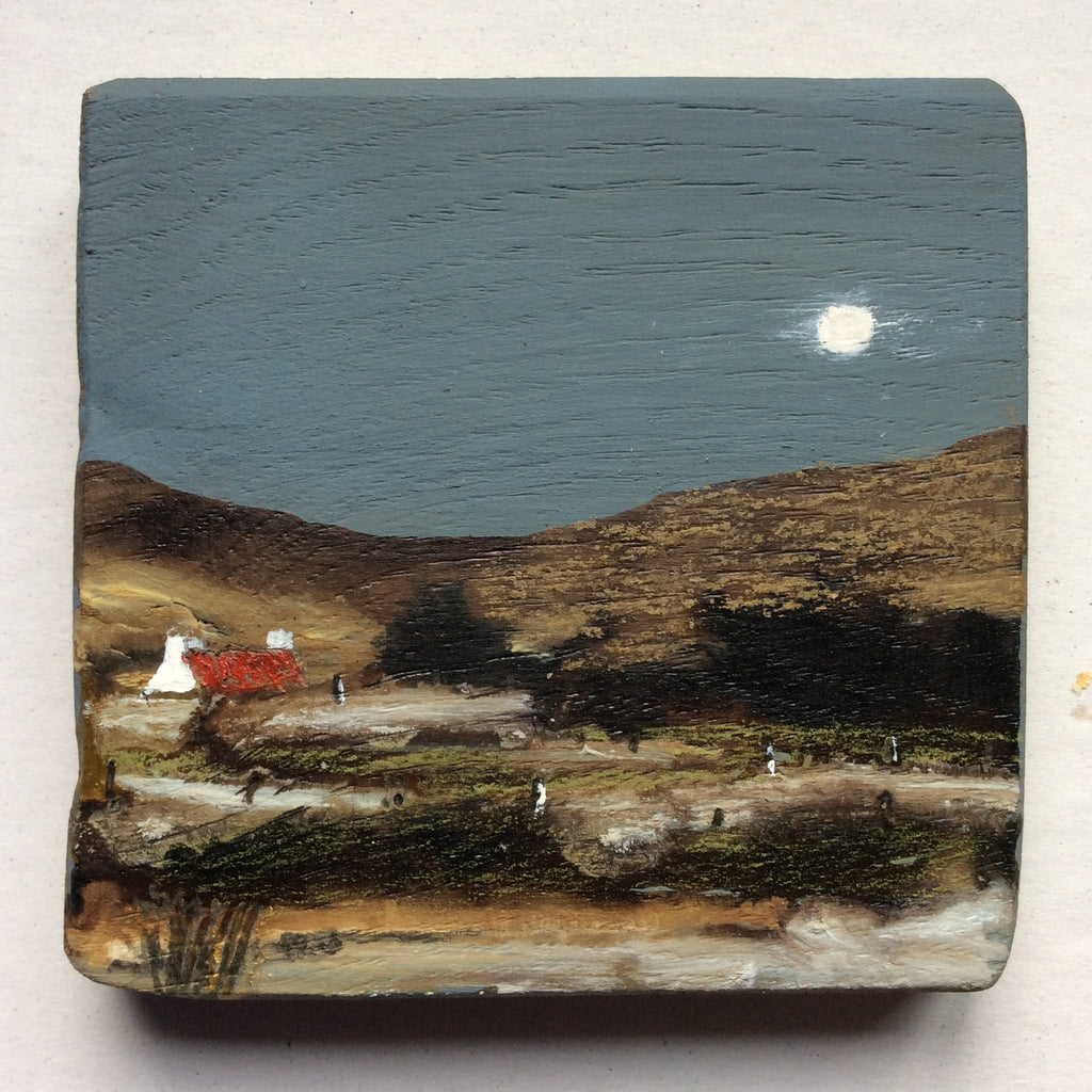"Mini Mixed Media Art on wood By Louise O'Hara - ""Along the winding path"""