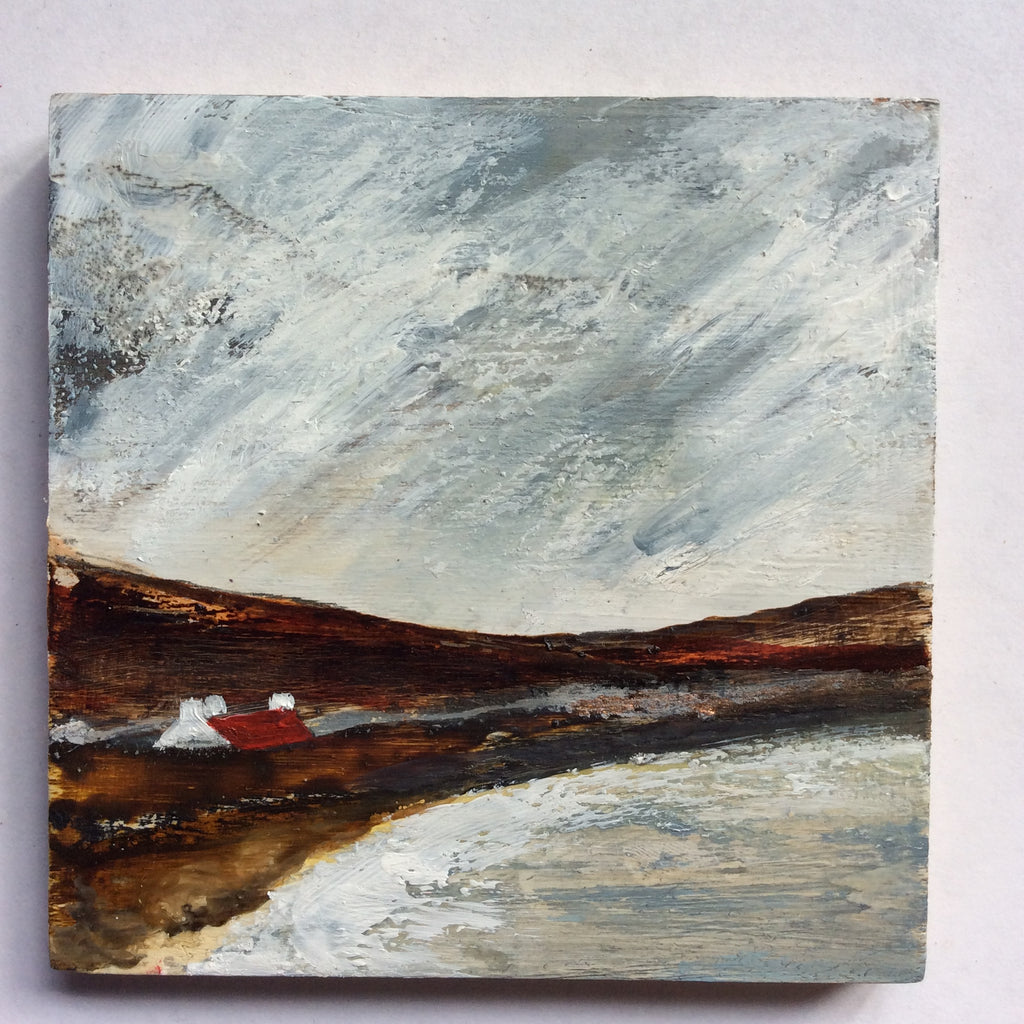 "Copy of Mini Mixed Media Art on wood By Louise O'Hara - ""Beachside croft"""