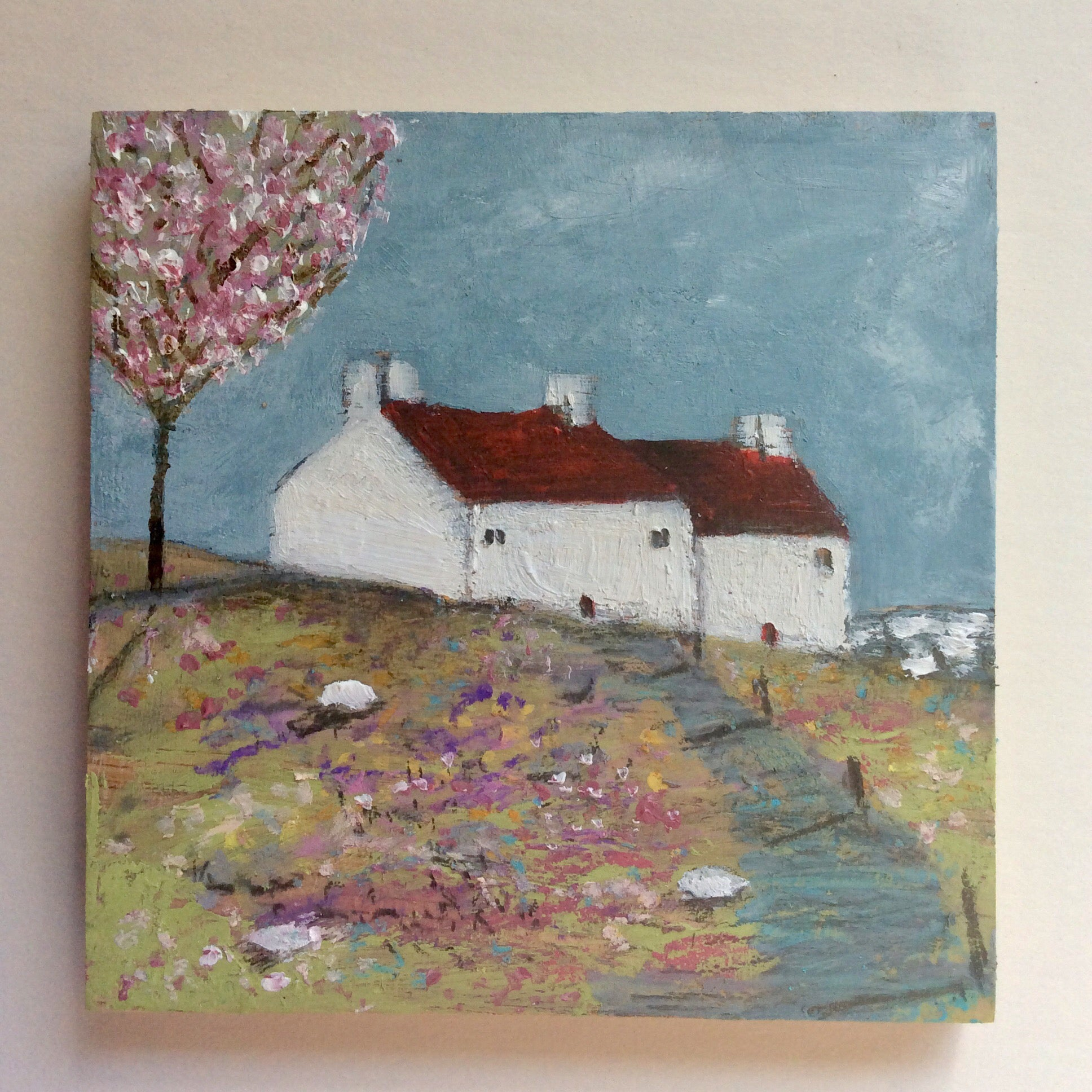 "Mini Mixed Media Art on wood By Louise O'Hara - ""Along the path to Blossom Cottage"""