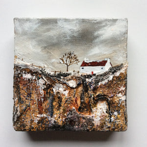 "Mixed Media Art By Louise O'Hara - ""Another cold day at Clifftop Cottage"""