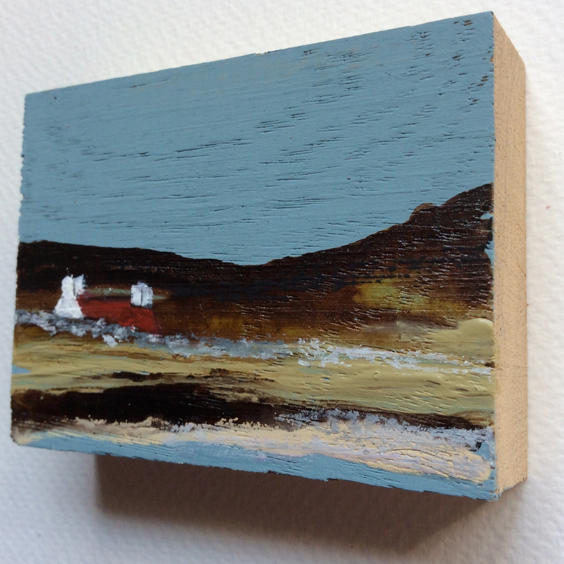"Miniature Mixed Media Art on wood By Louise O'Hara - ""An early spring evening"""
