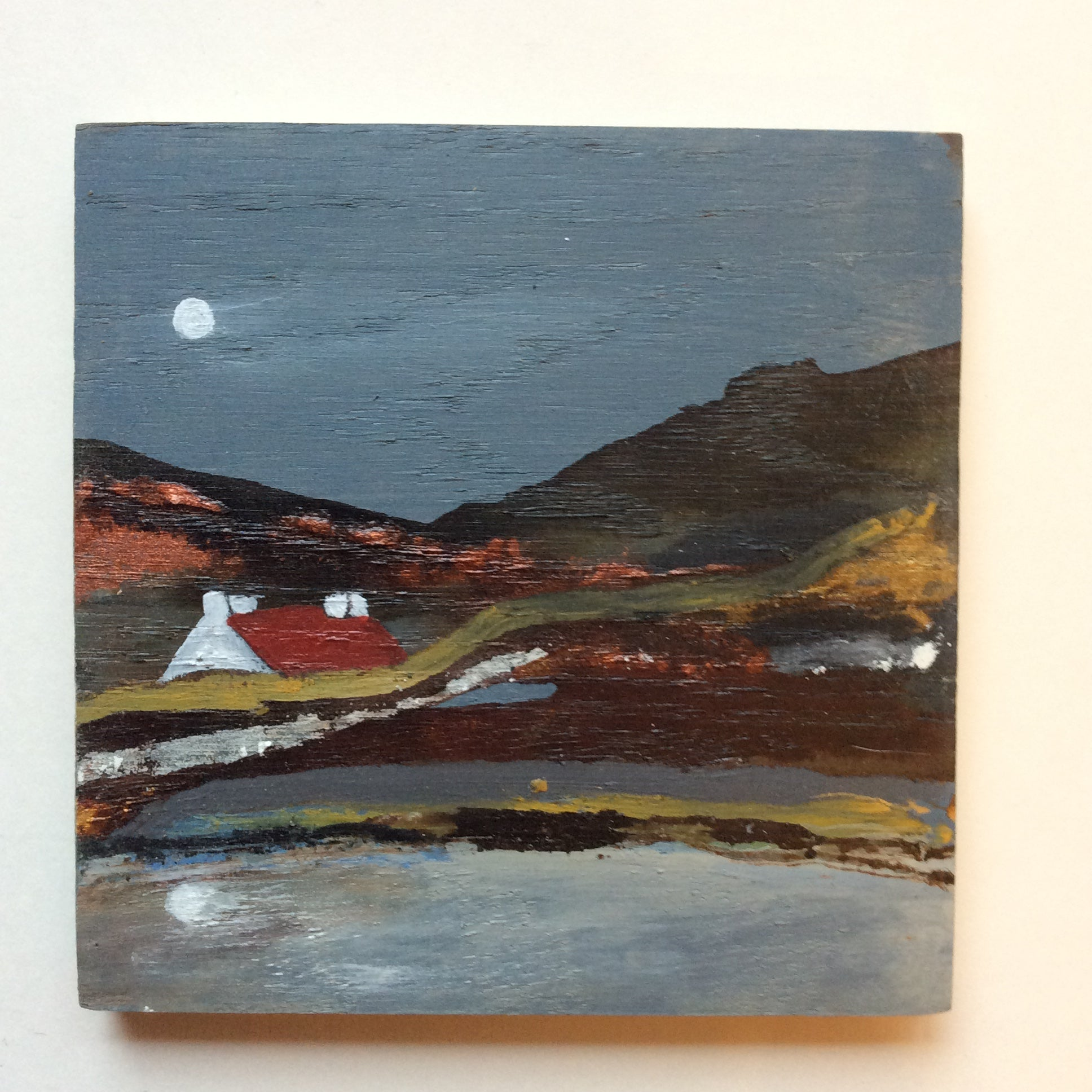"Mixed Media Art on wood By Louise O'Hara - ""A moonlit Valley In Autumn"""