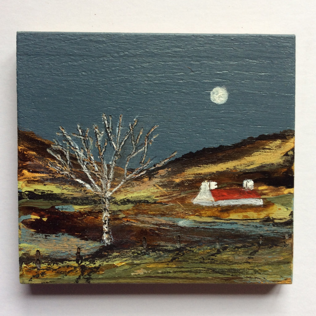 "Mini Mixed Media Art on wood By Louise O'Hara - ""Silver Birch"""