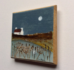 "Cop Mini Mixed Media Art on wood By Louise O'Hara - ""Autumn pond"""