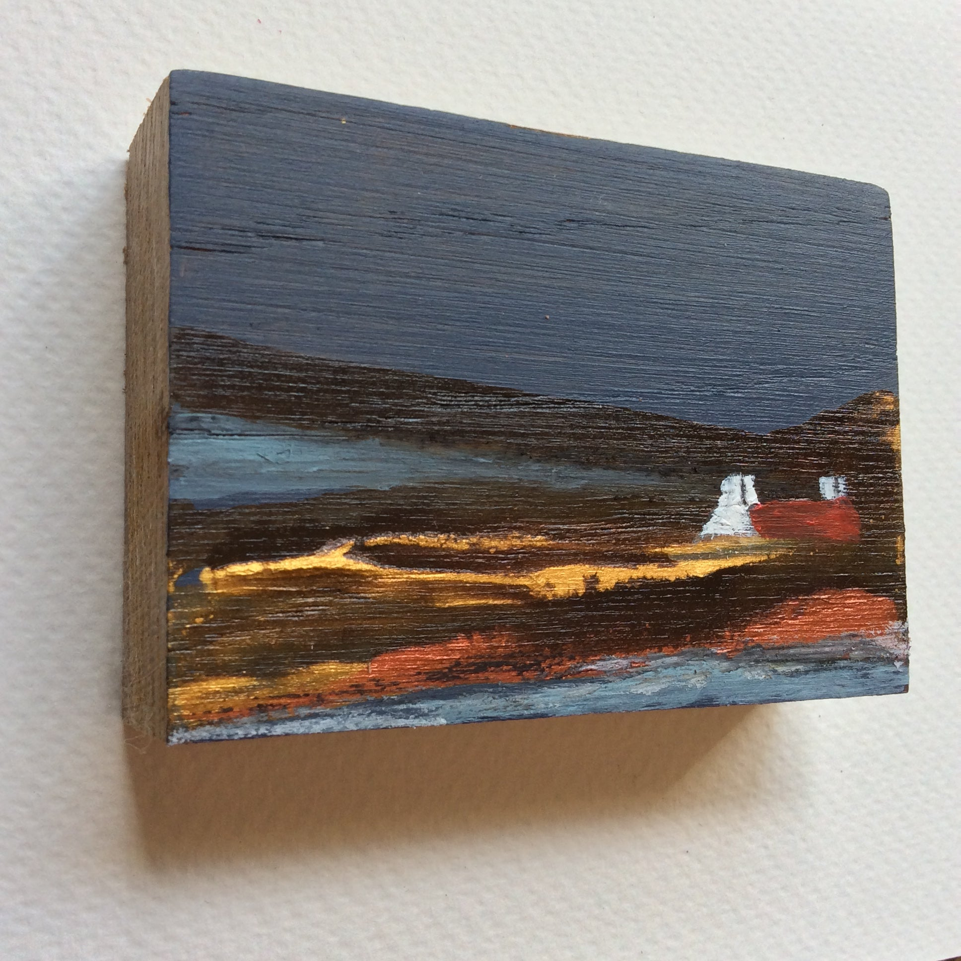 "Miniature Mixed Media Art on wood By Louise O'Hara - ""One Autumn evening"""