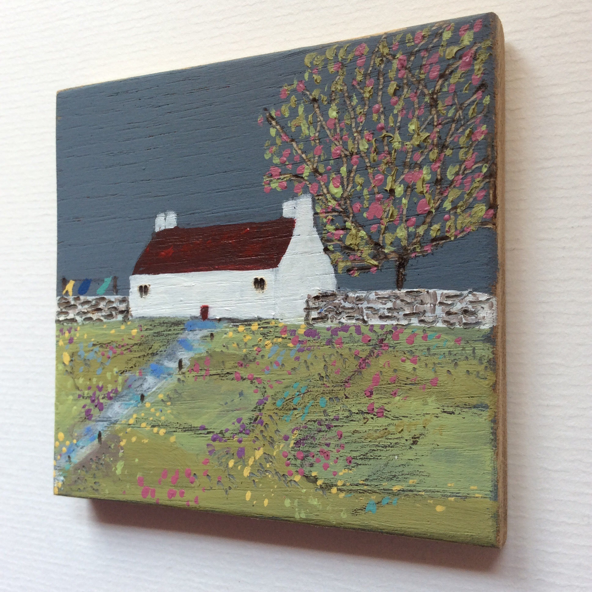 "Mixed Media Art on wood By Louise O'Hara - ""Dark skies on a Spring day"""