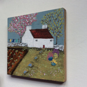 "Copy of Mini Mixed Media Art on wood By Louise O'Hara - ""Allotment Cottage"""