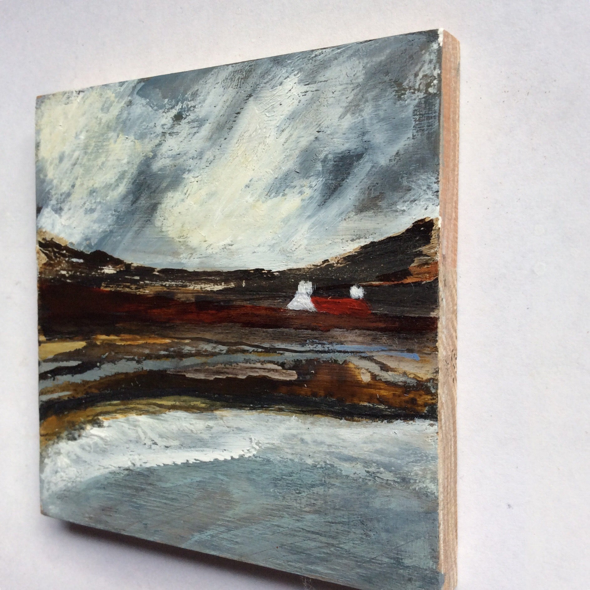 "Mini Mixed Media Art on wood By Louise O'Hara - ""A storm at high tide"""