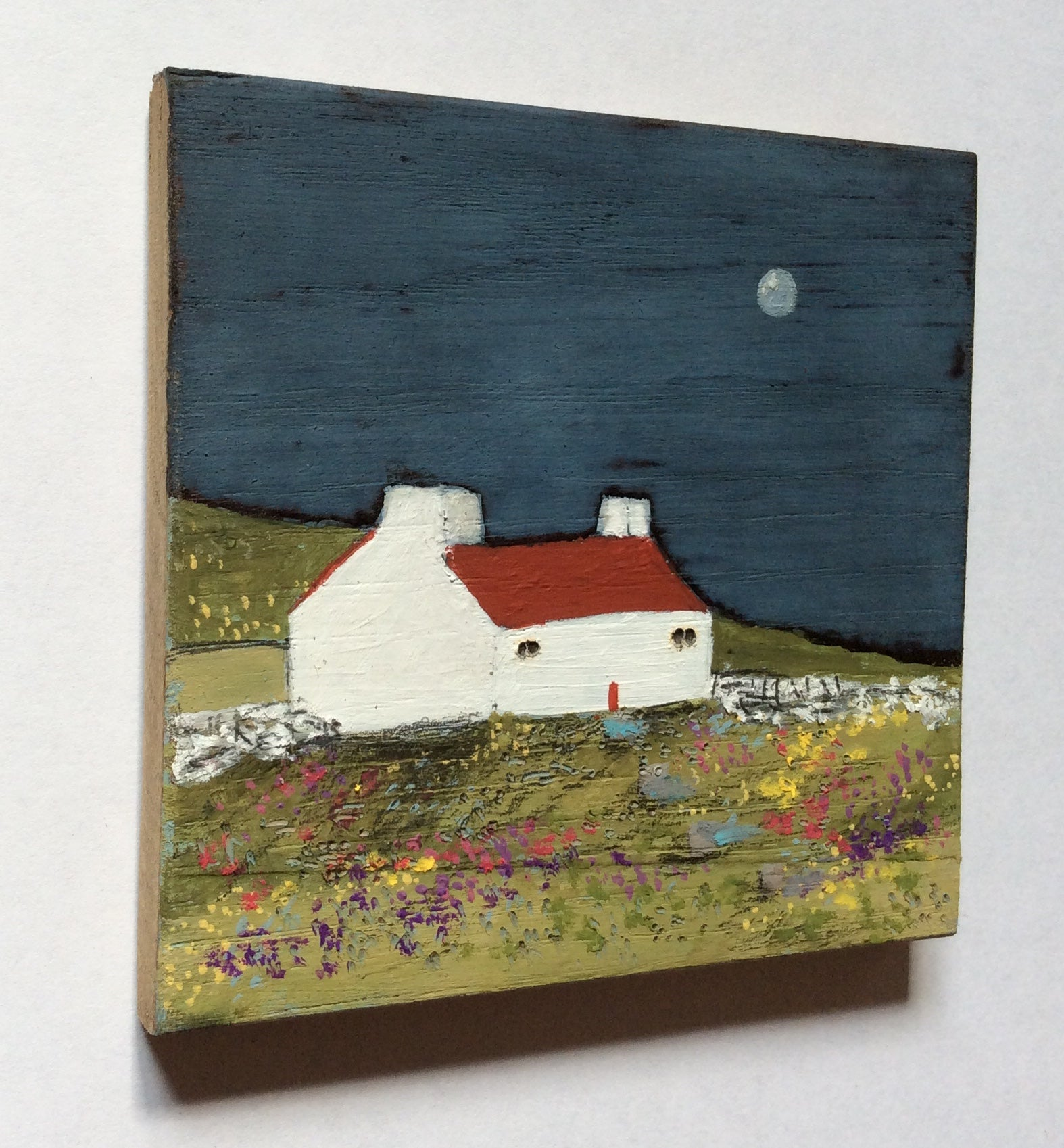 "Mixed Media Art on wood By Louise O'Hara - ""A Spring night"""