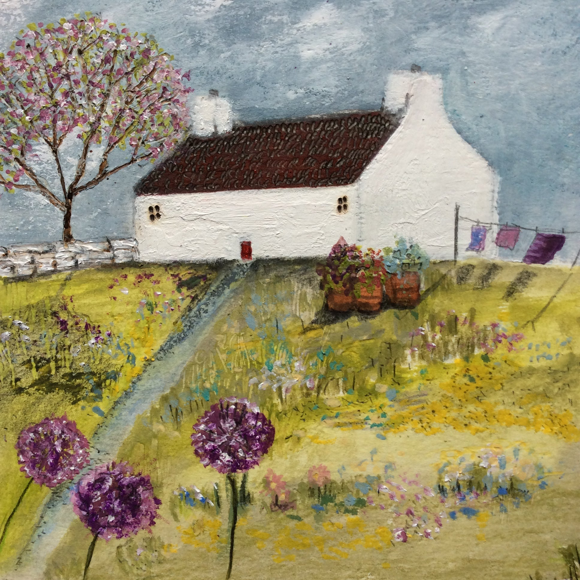 "Mixed Media Art By Louise O'Hara - ""A Cottage garden"""