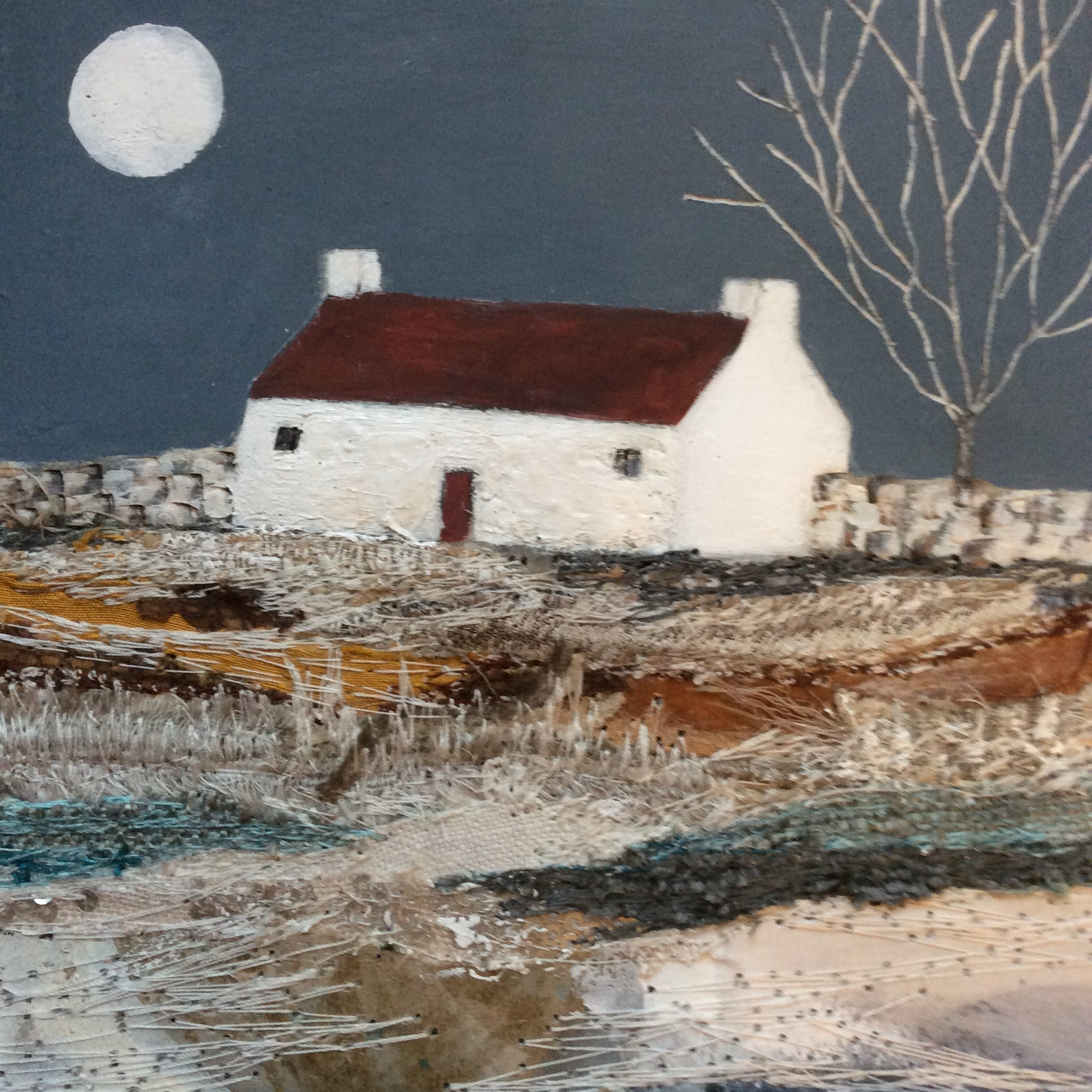 "Mixed Media Art By Louise O'Hara ""Entranced by the Autumn Moon"""
