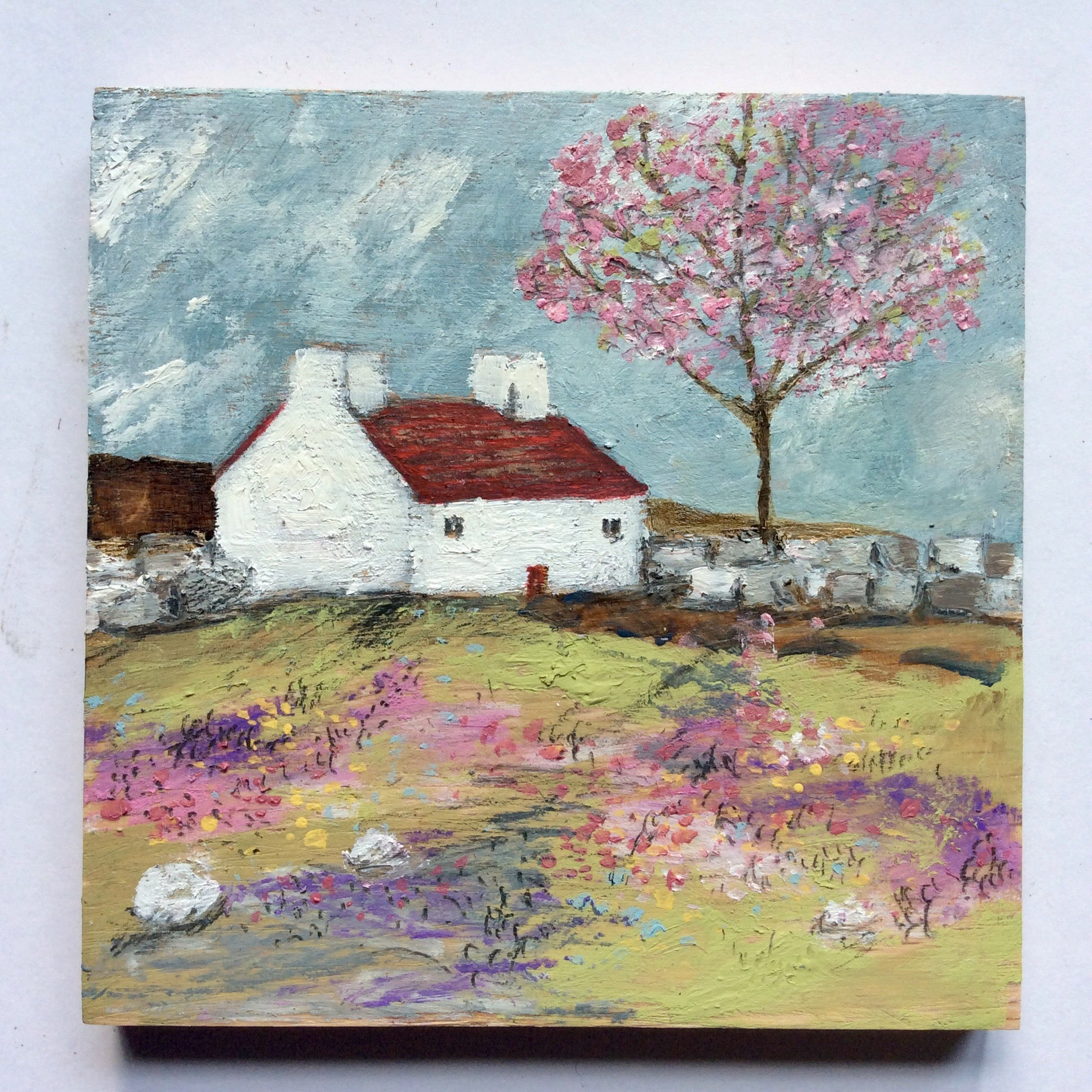 "Mini Mixed Media Art on wood By Louise O'Hara - ""Blossomside Cottage"""