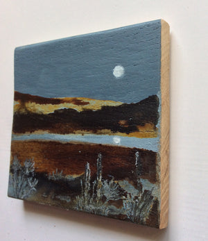 "Mini Mixed Media Art on wood By Louise O'Hara - ""Riverside Reflections"""