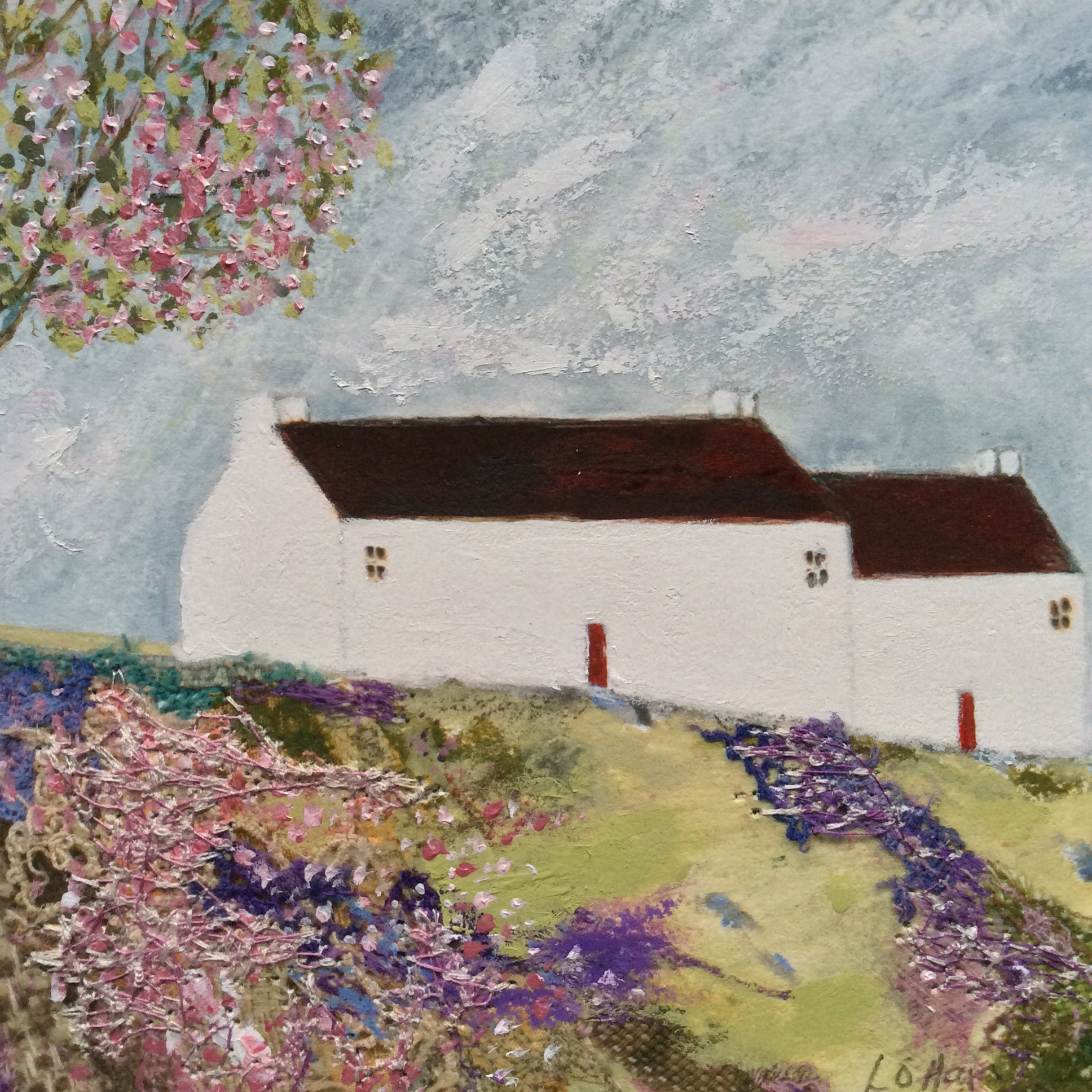 "Mixed Media Art print work by Louise O'Hara ""The Blossom Tree at White Cottage"""