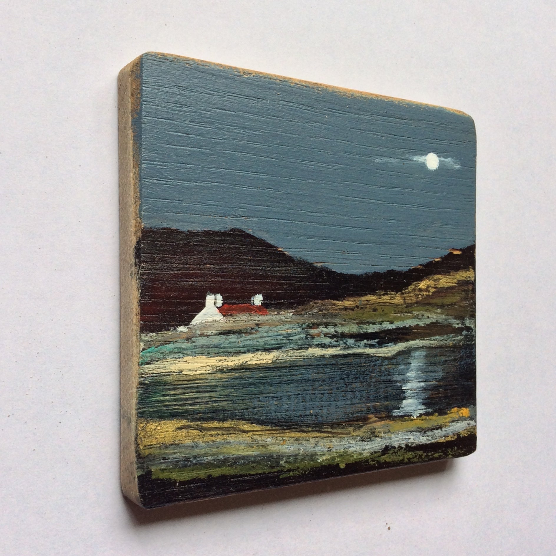 "Mixed Media Art on wood By Louise O'Hara - ""Reflections dancing across the water"""