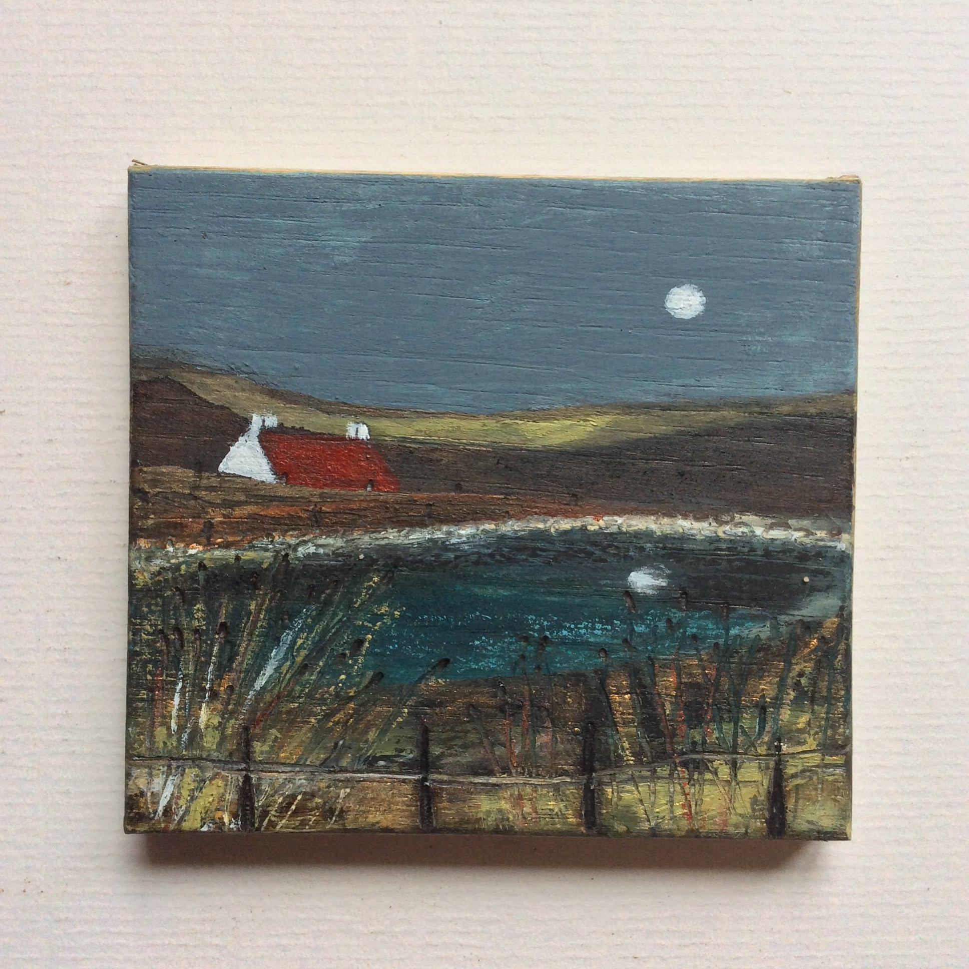 "Mixed Media Art on wood By Louise O'Hara - ""Moon light on the Tarn"""