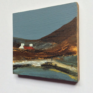 "Mixed Media Art on wood By Louise O'Hara - ""Seashore Bothy"""