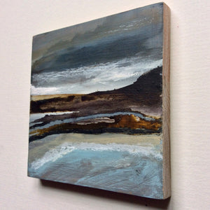 "Mini Mixed Media Art on wood By Louise O'Hara - ""Walkers on the headland"""