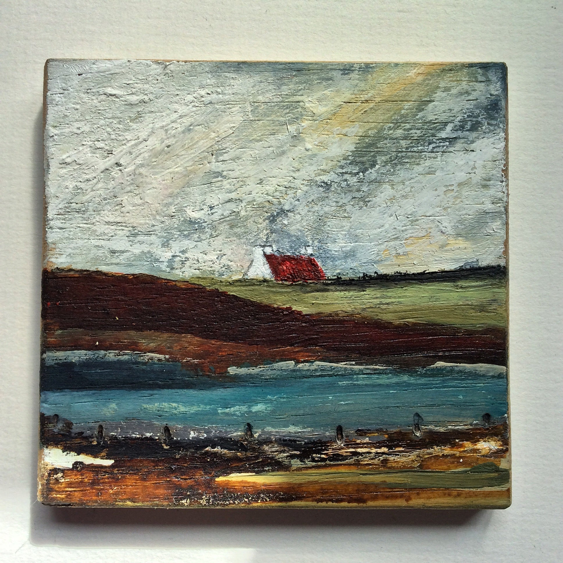 "Mini Mixed Media Art on wood By Louise O'Hara - ""The little Croft House"""