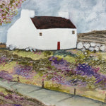 "Mixed Media Art print work by Louise O'Hara ""White stone cottage"""