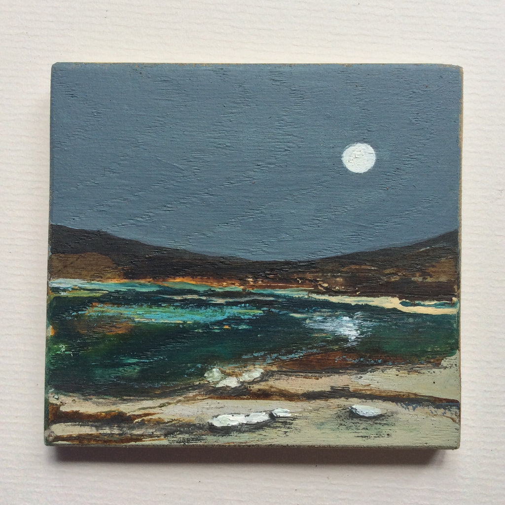 "Mixed Media Art on wood By Louise O'Hara - ""Dreaming of a shoreline"""