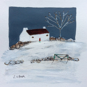 "Mini Mixed Media Art By Louise O'Hara - ""A light snow fall"""
