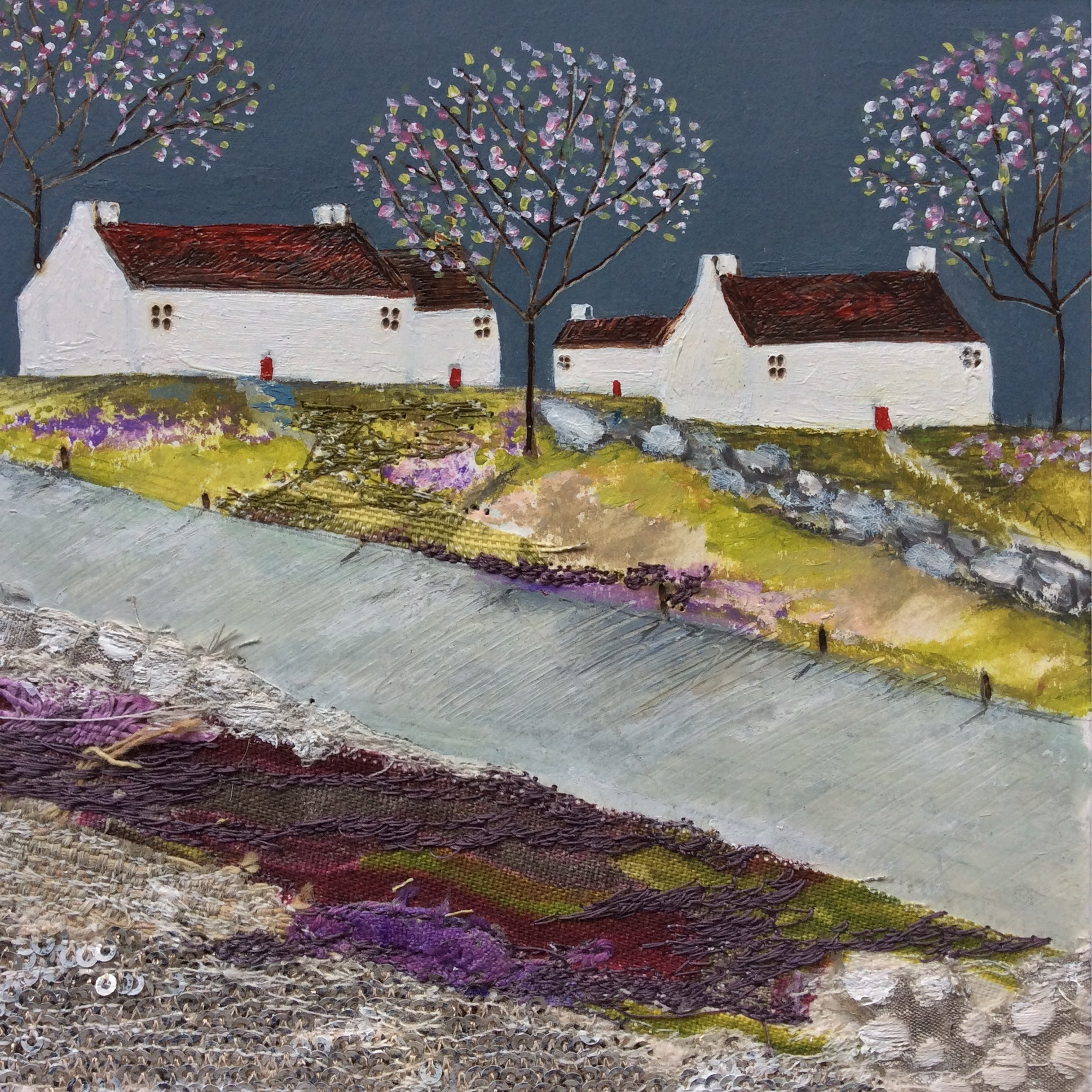 "Mixed Media Art By Louise O'Hara - ""Along the road to the village"""
