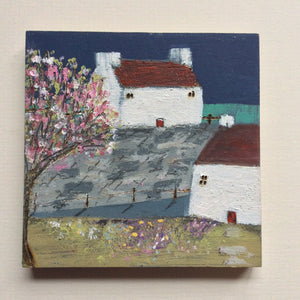 "Mini Mixed Media Art on wood By Louise O'Hara - ""Quayside"""