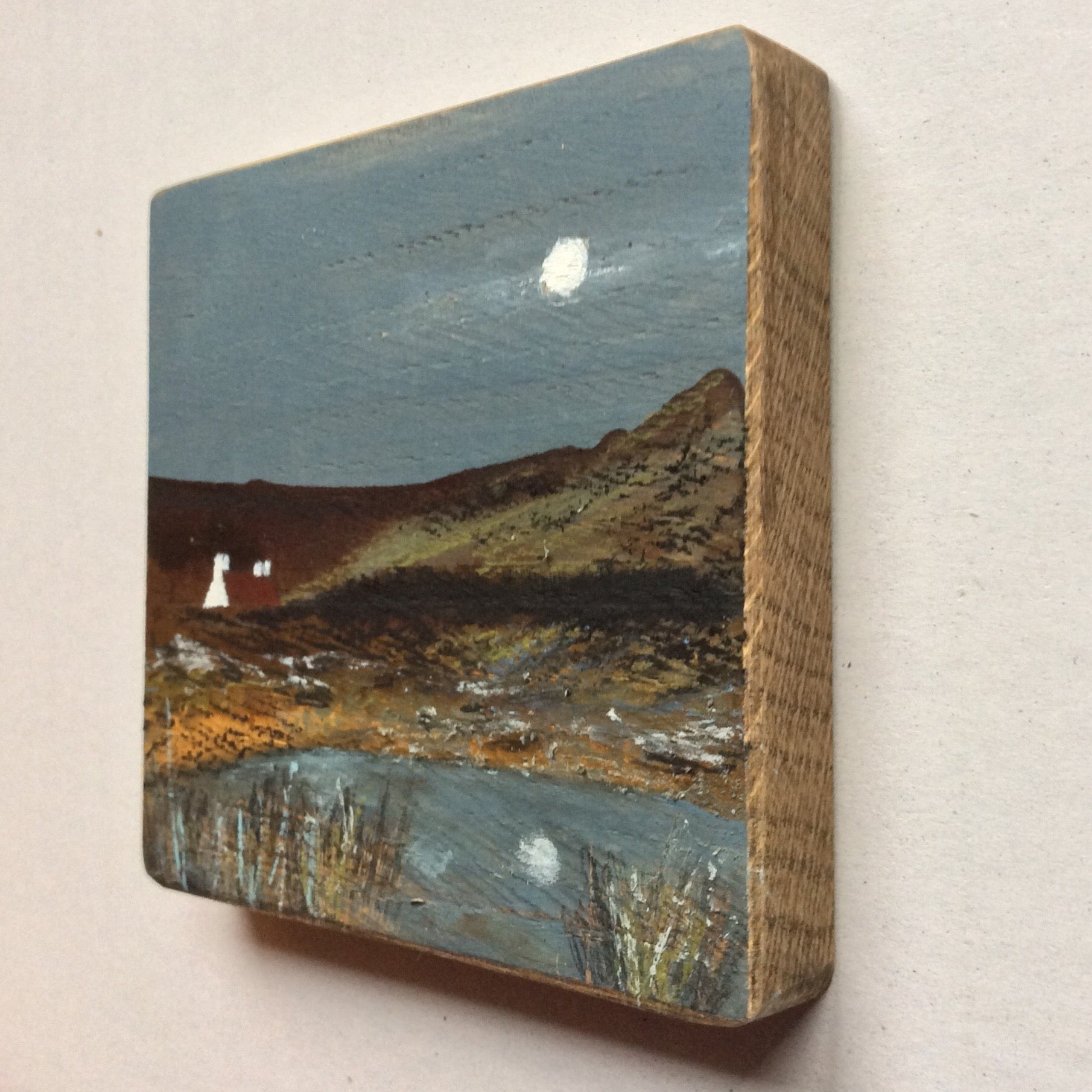 "Mini Mixed Media Art on wood By Louise O'Hara - ""Quarry Bank Cottage"""