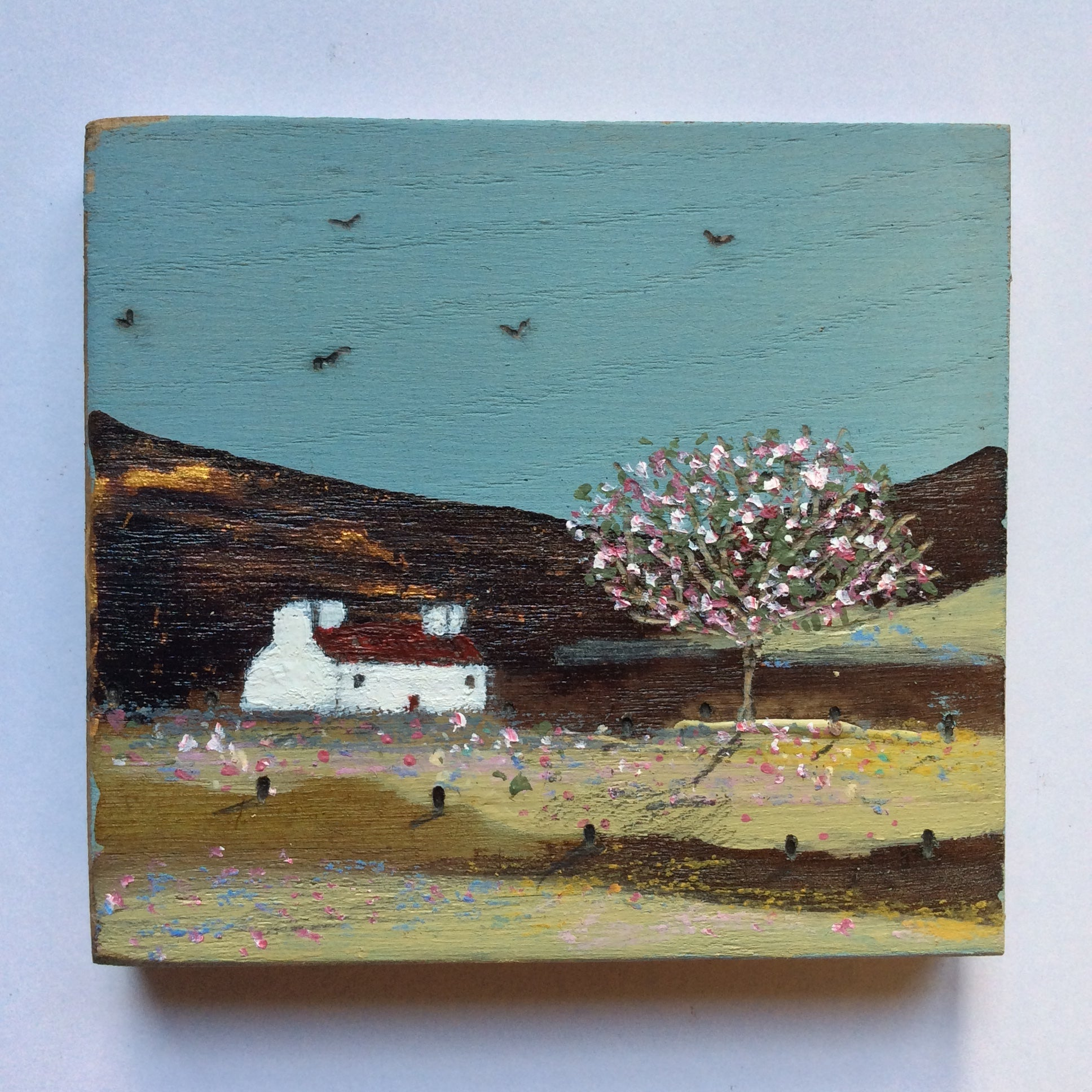 "Mini Mixed Media Art on wood By Louise O'Hara - ""The early evening gathering"""