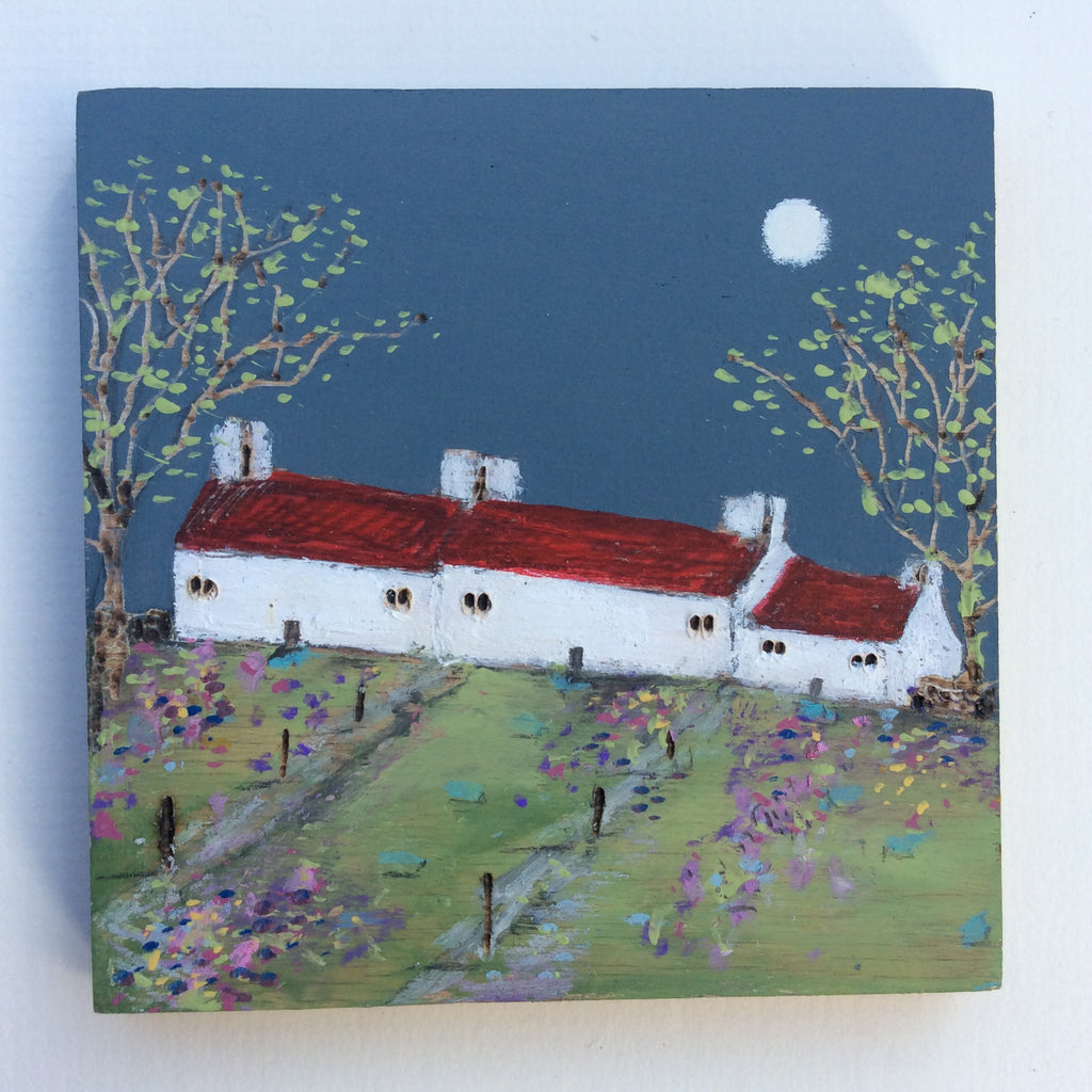 "Mixed Media Art on wood By Louise O'Hara - ""A row of cottages in early Spring"""